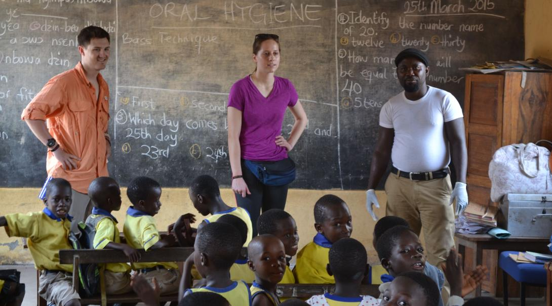 Projects Abroad nursing volunteers run a health campaign in a school in Ghana during their internship.